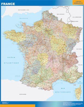 Mapa de Francia politico enmarcado plastificado
