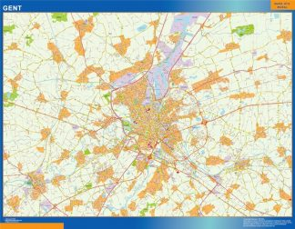 Mapa de Gante en Bélgica enmarcado plastificado