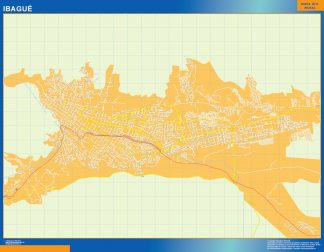 Mapa de Ibague en Colombia enmarcado plastificado