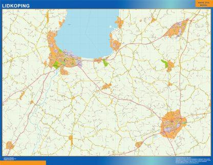 Mapa de Lidkoping en Suecia enmarcado plastificado