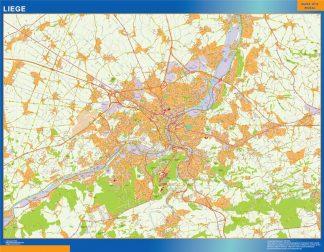 Mapa de Lieja en Bélgica enmarcado plastificado