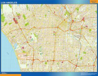 Mapa de Los Angeles enmarcado plastificado