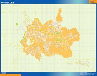 Mapa de Manizales en Colombia enmarcado plastificado