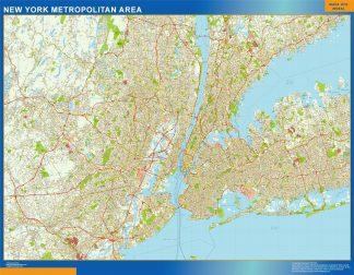 Mapa de Nueva York Metropolitano enmarcado plastificado