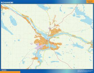 Mapa de Rovaniemi en Finlandia enmarcado plastificado