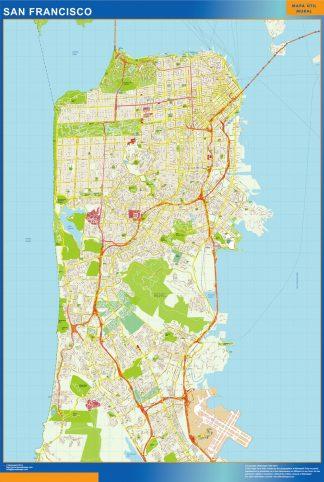 Mapa de San Francisco enmarcado plastificado