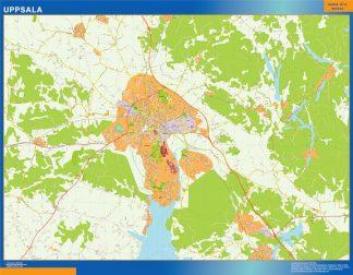 Mapa de Uppsala en Suecia enmarcado plastificado