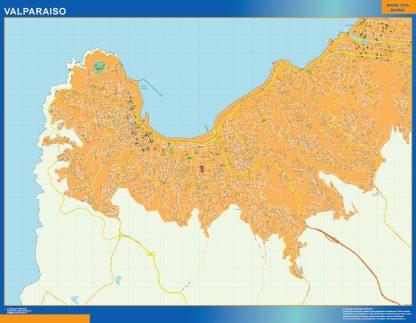 Mapa de Valparaiso en Chile enmarcado plastificado