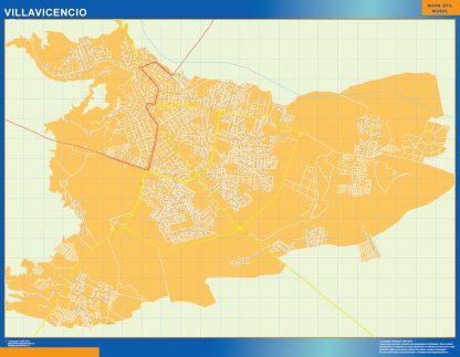 Mapa de Villavicencio en Colombia enmarcado plastificado