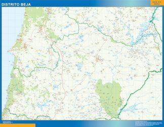 Mapa distrito Beja enmarcado plastificado