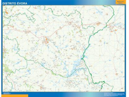Mapa distrito Evora enmarcado plastificado