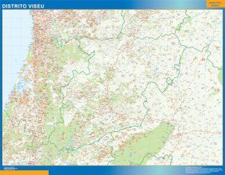 Mapa distrito Viseu enmarcado plastificado