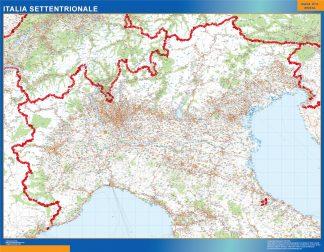Mapa norte Italia carreteras enmarcado plastificado