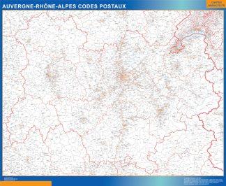 Mapa región Auvergne-Rhone-Alpes postal enmarcado plastificado