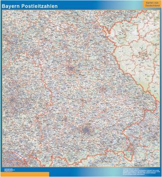 Mapa región Baviera codigos postales enmarcado plastificado