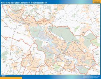 Mapa región Bremen codigos postales enmarcado plastificado