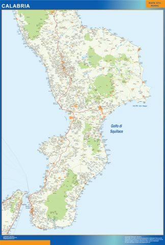 Mapa región Calabria enmarcado plastificado