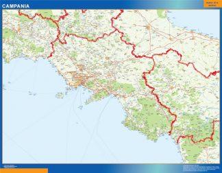 Mapa región Campania enmarcado plastificado