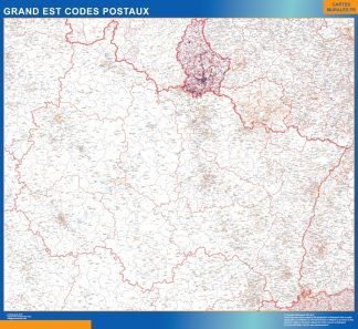 Mapa región Grand Est postal enmarcado plastificado