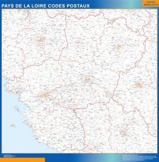 Mapa región Pays de la Loire postal enmarcado plastificado