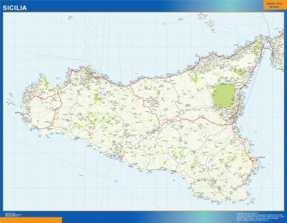 Mapa región Sicilia enmarcado plastificado