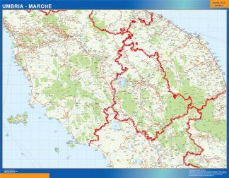 Mapa región Umbria enmarcado plastificado
