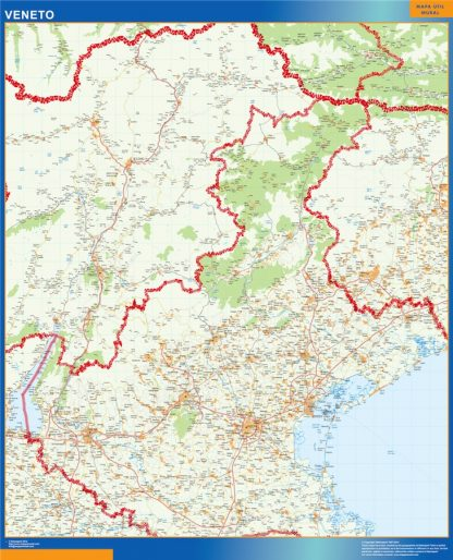 Mapa región Veneto enmarcado plastificado