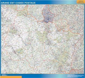Región Grand Est codigos postales enmarcado plastificado