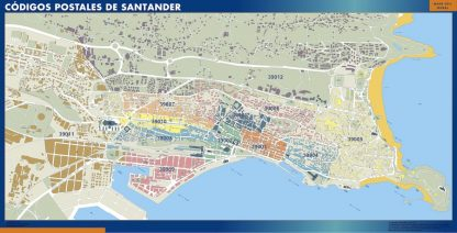 Santander códigos postales enmarcado plastificado