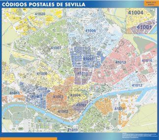 Sevilla códigos postales enmarcado plastificado